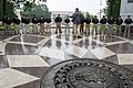 2015 Law Enforcement Explorers Conference man addresses explorers during downpour.jpg