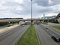 2019-07-04 15 33 26 View north along Interstate 95 and Interstate 495 (Capital Beltway) from the overpass for the ramp connecting Interstate 295 (Anacostia Freeway) to National Harbor in National Harbor, Prince George's County, Maryland.jpg