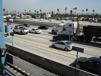 San Gabriel Valley - Foothill Freeway (I-210) as seen from the Metro Gold Line Sierra Madre Villa Station