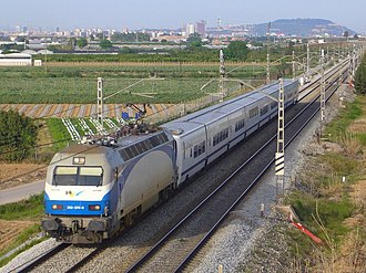 Talgo - Talgo VII train on a Spanish Altaria service from Madrid - Barcelona passing Viladecans (Barcelona)