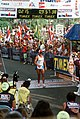 2LT Michael Buonaugurio runs across the finish line at the 1989 Ironman Triathlon. Buonaugurio, a shift leader with the 15th Air Base Wing security police at Hickam Air Force Base, - DPLA - b76a542e5b20f316f9a41dab2e005d43.jpeg