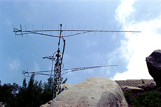 2-meter band - A set of two long Yagi antennas for the 2-meter band fed in phase to obtain more gain and narrow main lobe of radiation (WA6PY)