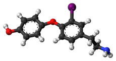 Ball-and-stick model of the 3-iodothyronamine molecule