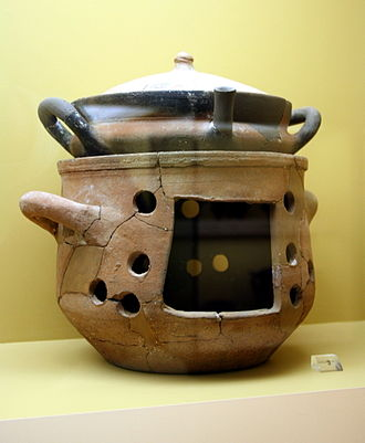 Brazier - Ancient Greek brazier and casserole, 6th/4th century BC, exhibited in the Ancient Agora Museum in Athens, housed in the Stoa of Attalus