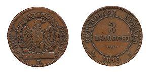 Roman scudo - Eagle on fasces. DIO E POPOLO. Mint mark (R)