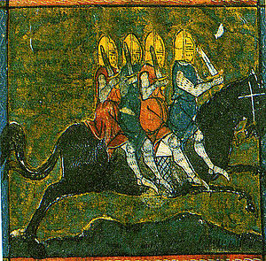 The Four Sons of Aymon - The horse Bayard carrying the four sons of Aymon, miniature in a manuscript from the 14th century.