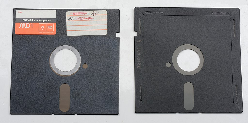 5.25 inch floppy disk, front and back