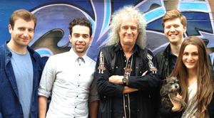 51 Degrees North - 51° North Composer and Queen guitarist Brian May with the film's production team outside Sarm Studios after a recording session.
