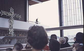 Robert Schuller - Inside the Garden Grove Community Drive-In Church, during a Schuller sermon, July 1962