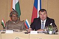 A. K. Antony and his Russian counterpart Mr. Anatoly Serdyukov presided over the ninth meeting of the India-Russia Intergovernmental Commission on Military Technical Cooperation in Moscow on October14, 2009 (1).jpg