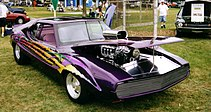 Shows a purple customized second-generation Javelin with a supercharged AMC V8