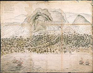 Seram Island - Dutch fort at Loki and Company troops in the interior, c. 1652
