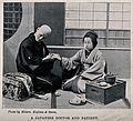 A Japanese doctor taking the pulse of a patient. Halftone af Wellcome V0015989.jpg
