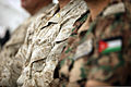 A U.S. Marine, center, sits next to a Jordanian service member during a briefing June 9, 2013, at Camp Titin, Jordan, on the opening day of exercise Eager Lion 2013 130609-M-UV027-163.jpg