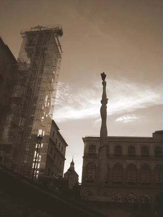 Photographic print toning - A digitally sepia-toned image taken in 2011 of the Reina Sofia Museum in Madrid