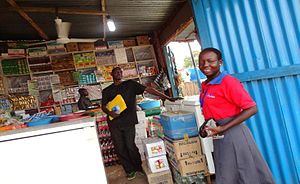 Microfinance - This shop in South Sudan was opened using money borrowed from the Finance Sudan Limited (FSL) Program. This program was established in 2006 as one of the only microfinance lenders in the country.