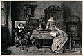 A family scene in which John Milton is depicted dictating Pa Wellcome V0038778.jpg