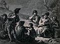 A gypsy family partaking of food and wine while resting from Wellcome V0038697.jpg
