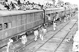 Partition of India - A refugee special train at Ambala Station during partition of India