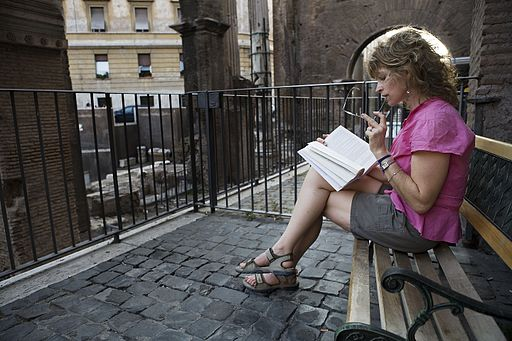 A young woman reading, Rome - 2072
