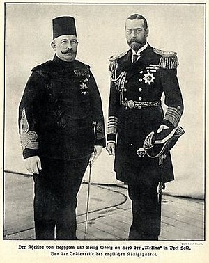 Abbas II of Egypt - Abbas II with King George V in 1911