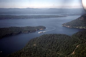 Active Pass - Aerial view of a BC Ferry at Active Pass sailing from Trincomali Channel in the west
