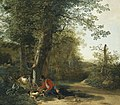 Adam Pijnacker - Peasant playing with his dog while resting at the margin of a wood 077L11034 62RM2.jpg