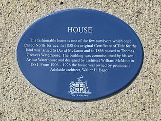 T. G. Waterhouse - Image: Adelaide Waterhouse House plaque Aug 08