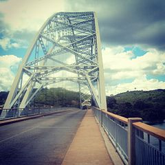 Adome Bridge on the Volta River in Atimpoku, Eastern Region, Ghana