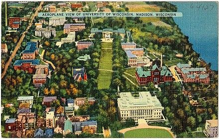 Overhead view of central campus in the 1920s Aeroplane view of University of Wisconsin, Madison, Wisconsin (64127).jpg
