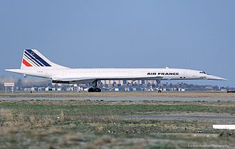 Air France Concorde at JFK Airport in 2003 Aerospatiale-British Aircraft Corporation Concorde, Air France JP71122.jpg
