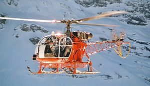 Aérospatiale SA 315B Lama - An SA 315B Lama over Mt. Lauberhorn