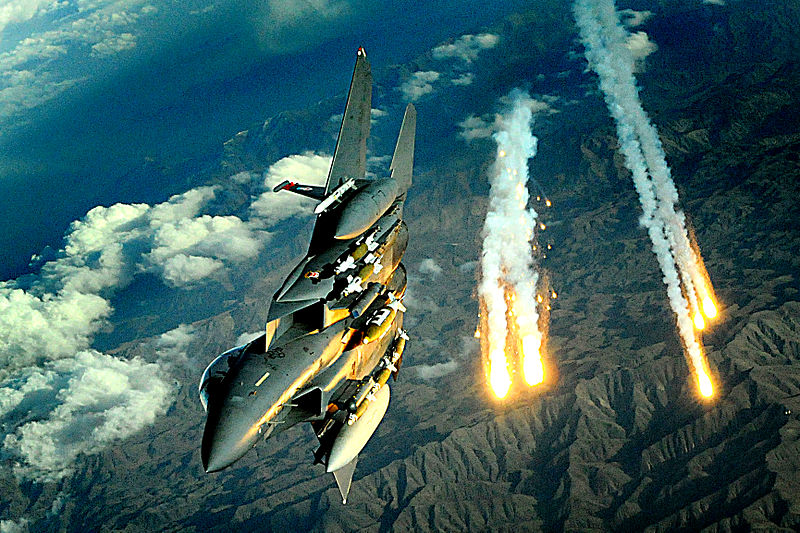 File:Afghanistan Flyover, F-15E from 391st Expeditionary Fighter Squadron deploys flares during a flight over Afghanistan, Nov. 12, 2008.jpg