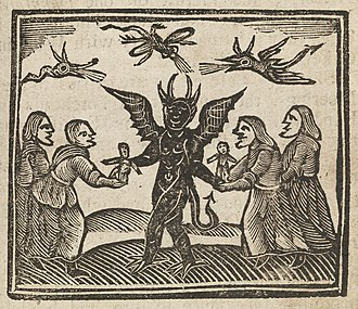 Agnes Sampson - This image, from the Agnes Sampson trial in 1591, depicts The Devil giving witches magic dolls.
