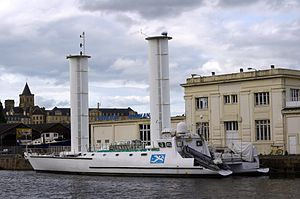 Alcyone - Jacques Cousteau's Turbosail Ship - Caen, northwestern France - June 2011.jpg