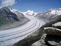 De Aletschgletsjer in de Alpen van Zwiserland....