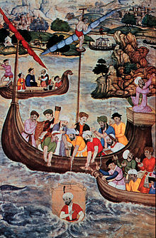 In the centre foreground, a man in a transparent cylinder is being lowered into the water by a group of turbaned figures on a small sailing vessel.