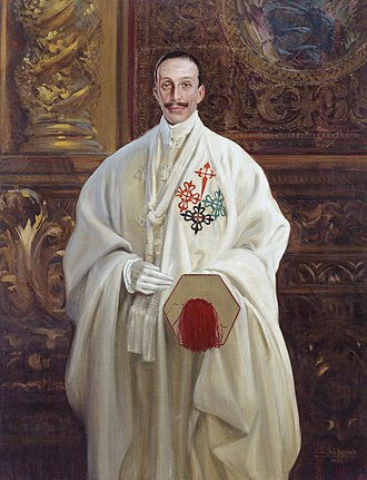 Spanish military orders - Portrait of Alfonso XIII in uniform of Grand Master of the four Spanish military orders, 1928