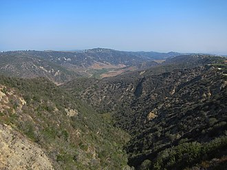 Aliso and Wood Canyons Wilderness Park - Aliso Canyon from near the summit of Niguel Hill, looking northward towards Temple Hill