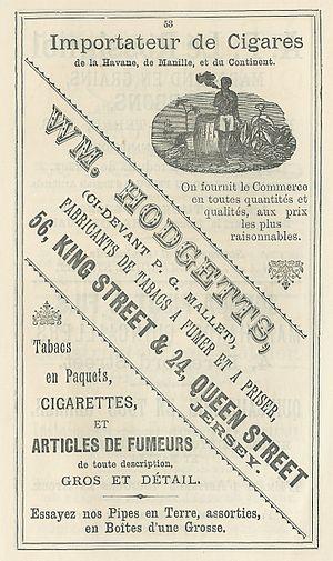 Tobacconist - Image: Almanach Chronique de Jersey 1892 Hodgetts tabac
