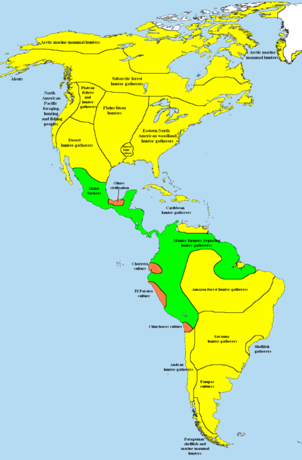 Simplified map of subsistence methods in the Americas at 1000 BCE hunter-gatherers simple farming societies complex farming societies (tribal chiefdoms or civilizations) Ameicas 1000 BCE crop.png