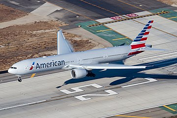 American Airlines Boeing 777-300ER (N719AN) landing at Los Angeles International Airport.jpg