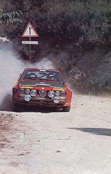 amilcare ballestrieri and co-driver mauro mannini on an alfa romeo alfetta  gt (group 2) at the 1975 rallye sanremo