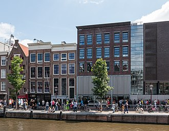 Anne Frank House - Canal house and museum entrance in 2015