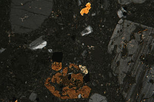 Andesite - Photomicrograph of andesite in thin section (between crossed polars)