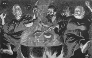 Alfred Eriksen - Caricature from 1905 in Korsaren by Andreas Bloch. Eriksen in the middle.