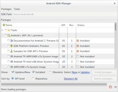 Android SDK Manager 23 uruchomiony w systemie GNU/Linux