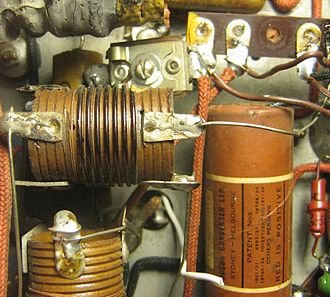 Point-to-point construction - Section of a typical Australian late 1930s radio, showing the point to point construction between components.