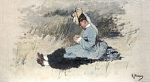 An elegant young lady wearing a fancy bonnet is sitting in the dunes dressed in her Sunday best, a black dress with a pale blue smock.
