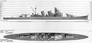 Black and white drawing of a World War II-era warship